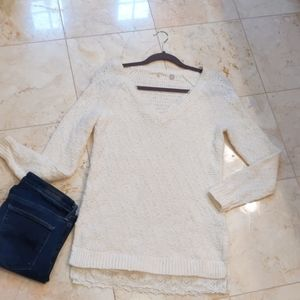 Anthropologie Tunic Sweater with Lace Trim